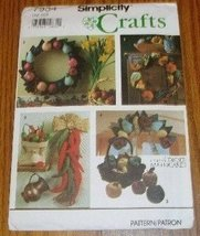 Simplicity 7934 Ornamental Stuffed Fruit Gourds & Red Chili Peppers Pattern - $8.95
