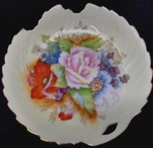 Vintage Leaf Shaped Beige Hand Painted Candy Trinket Dish w/ Flowers & G... - $49.99