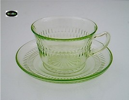Roulette Green Cup And Saucer Hocking - $9.50