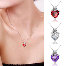 USA Women Heart Crystal Rhinestone Silver Chain Pendant Necklace Fashion Jewelry - $9.99