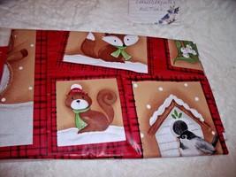 "NEW Winter ANIMAL FRIENDS 60"" Round TABLECLOTH Deer Fox Squirrel Birds SNOW - $14.75"