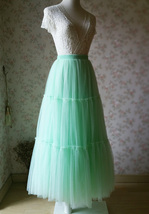 Tiered High Waist Long Tulle Skirt Green Layered Tulle Ball Evening Gowns NWT