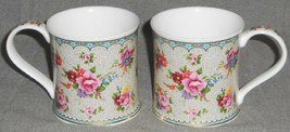 Set (2) Dunoon CHINTZ BOUQUET PATTERN Handled Porcelain Mugs AILEEN MORLEY - $31.67