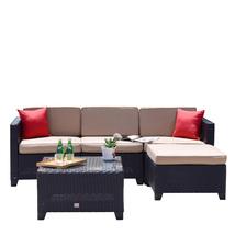 5 PC Rattan Wicker Sofa Cushioned Outdoor Secitonal Patio Furniture Coco... - $429.99