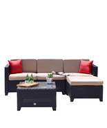 5 PC Rattan Wicker Sofa Cushioned Outdoor Secitonal Patio Furniture Coco... - $429.99