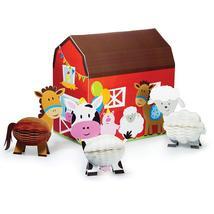 3D Farmhouse Fun Centerpiece Barn & Honeycomb Animals - $13.90