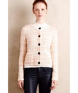 NWT ANTHROPOLOGIE PLAID BOUCLE PEACH CARDI SWEATER by KNITTED & KNOTTED L - $80.99