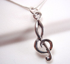 Small Treble Clef Necklace 925 Sterling Silver composer music musician song - $16.82