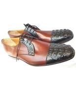 Two Tone Men Crocodile Leather Shoes Oxford Black Horn-Back SKIN Handmad... - $199.99