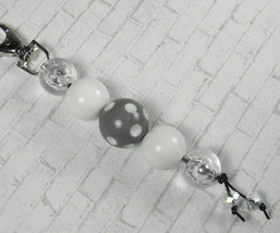 Polka Dot Bubbblegum Handmade Beaded Keychain Purse Charm White Grey Silver - $14.54