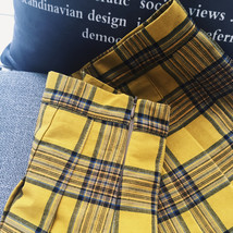 Women Girl YELLOW Pleated Plaid Skirt Plus Size School Style Pleated Plaid Skirt image 5