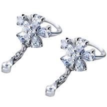 A Pair Flower Tassel Silver Ear Clip Silver Earrings Ear Cuff Rhinestone Clip-on
