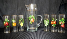 Vintage Barware Set Sangria Fruit Lemonade Pitcher & 6 Gold Trim Tumbler... - $120.30