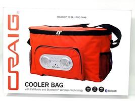 Soft Cooler Bag 24 Can  Red FM Bluetooth Speakers Headphone Jack - $19.99