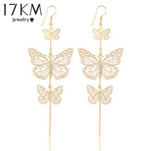 17KM® Double Bow Butterfly Drop Earrings Jewelry Gold Silver Color Alloy Long - $2.78