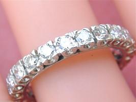 VINTAGE MID-CENTURY 1.75ctw DIAMOND PLATINUM ETERNITY BAND RING 1950 siz... - $4,355.01