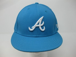 7 1/8 ERA 59Fifty Fitted Baseball Hat Atlanta Braves Blue Jewel Men Cap - $29.69