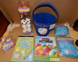 Easter Mix Lot 7 Items Basket Paper Grass Stickers Sports Eggs Racer Dye 163A - $12.49