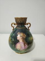 Antique Royal Bonn Porcelain Woman Portrait Vase Signed - $175.00