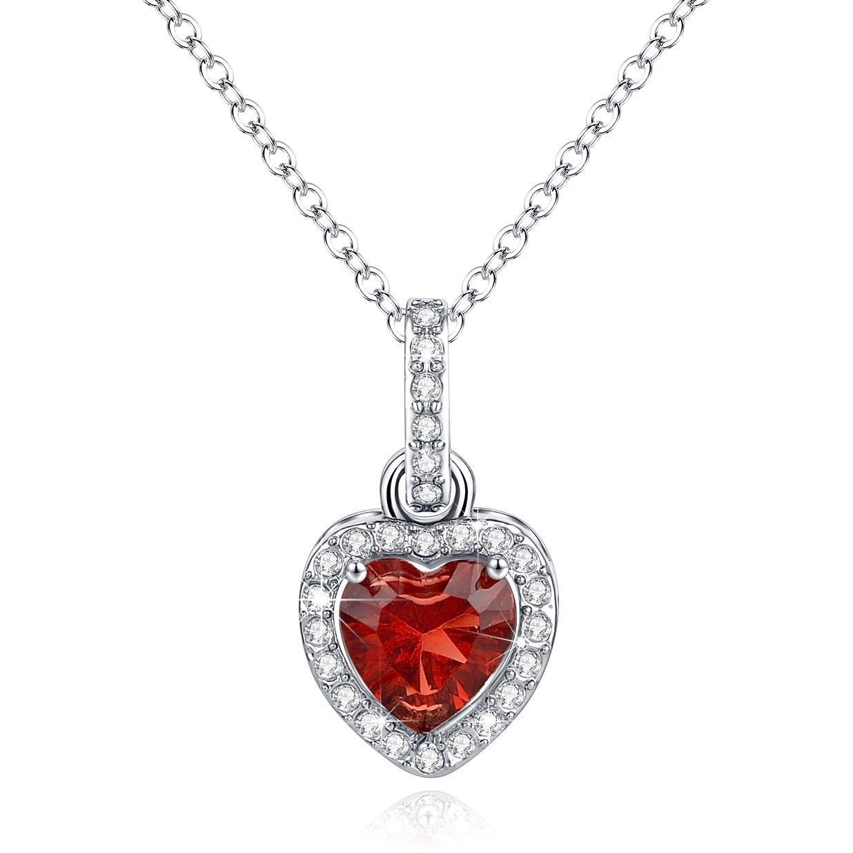 Love Heart Necklace Pendant Simulated Garnet Birthstone January Valentine's Gif
