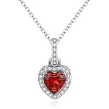 Love Heart Necklace Pendant Simulated Garnet Birthstone January Valentin... - $65.96