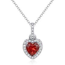 Love Heart Necklace Pendant Simulated Garnet Birthstone January Valentin... - $65.96