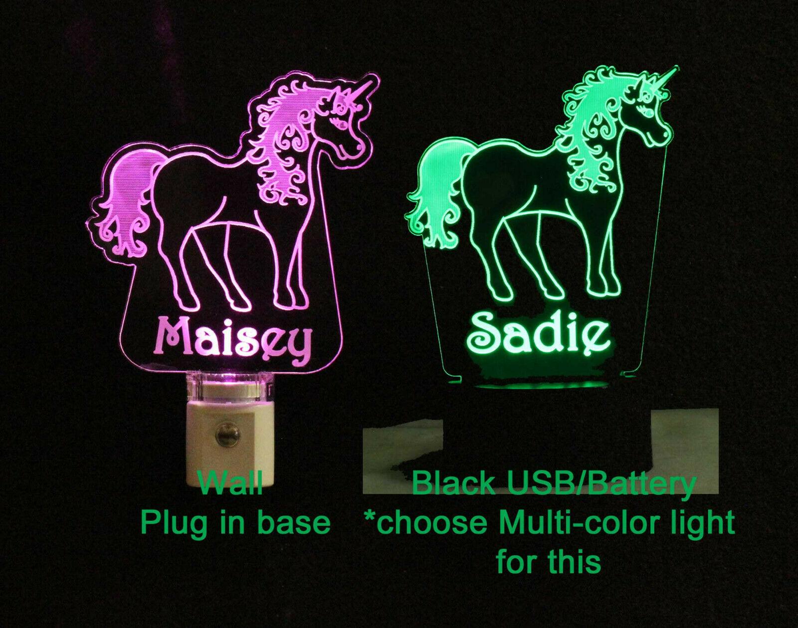 Personalized Unicorn Lamp Night light USB or Wall Plug In