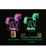 Personalized Unicorn Lamp Night light USB or Wall Plug In - $23.27+