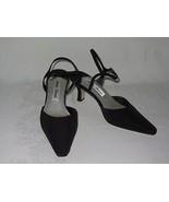Mister Loren's Vtg Black Fabric Dressy Womens Shoes Heels Rhinestones Si... - $19.79
