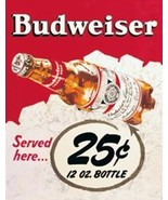 Budweiser Served Here .25 Classic Ad Tin Sign Reproduct - $5.94