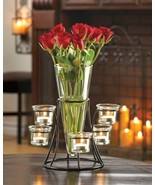 Circular Iron Candle Stand w/ 6 Glass Cups & Tapered Glass Vase Centerpiece - $28.49