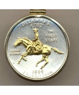 State of Delaware, 2-Toned, Gold on Silver, U.S. Quarter Pendant Necklace - $85.00