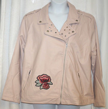 NEW WOMENS PLUS SIZE 3X PINK MAUVE STUDDED FAUX LEATHER EMBROIDERED MOTO... - $26.11