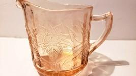 Vintage Jeannette Floral & Poinsettia Depression Glass Pink Creamer - $14.24