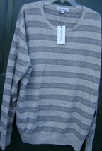 CALVIN KLEIN MEN'S SWEATER WOOL/CASHMERE XL STRIPE CREWNECK GRAY LONG SL... - $84.80