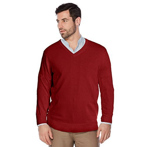 Berlioni Italy Men's Slim Fit Microfiber V-Neck Dress Pullover Sweater (XL, Red)