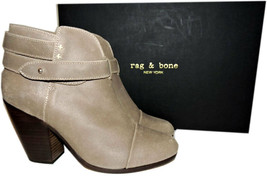 Rag & Bone HARROW Stone Buckle Boots Ankle Booties Taupe Shoes 38.5 - 8 image 2