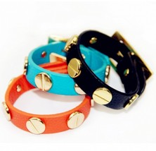 PU Wide Strap Rivet Buckle Bracelet(Color:Black /Blue /Orange ) - $13.99