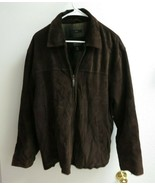 Claiborne Outerwear Mens Brown Suede Lined Zip Jacket Coat Size M - $78.00