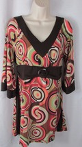 Women New Directions retro mod look circles groovy dress XL stretch brow... - $7.99
