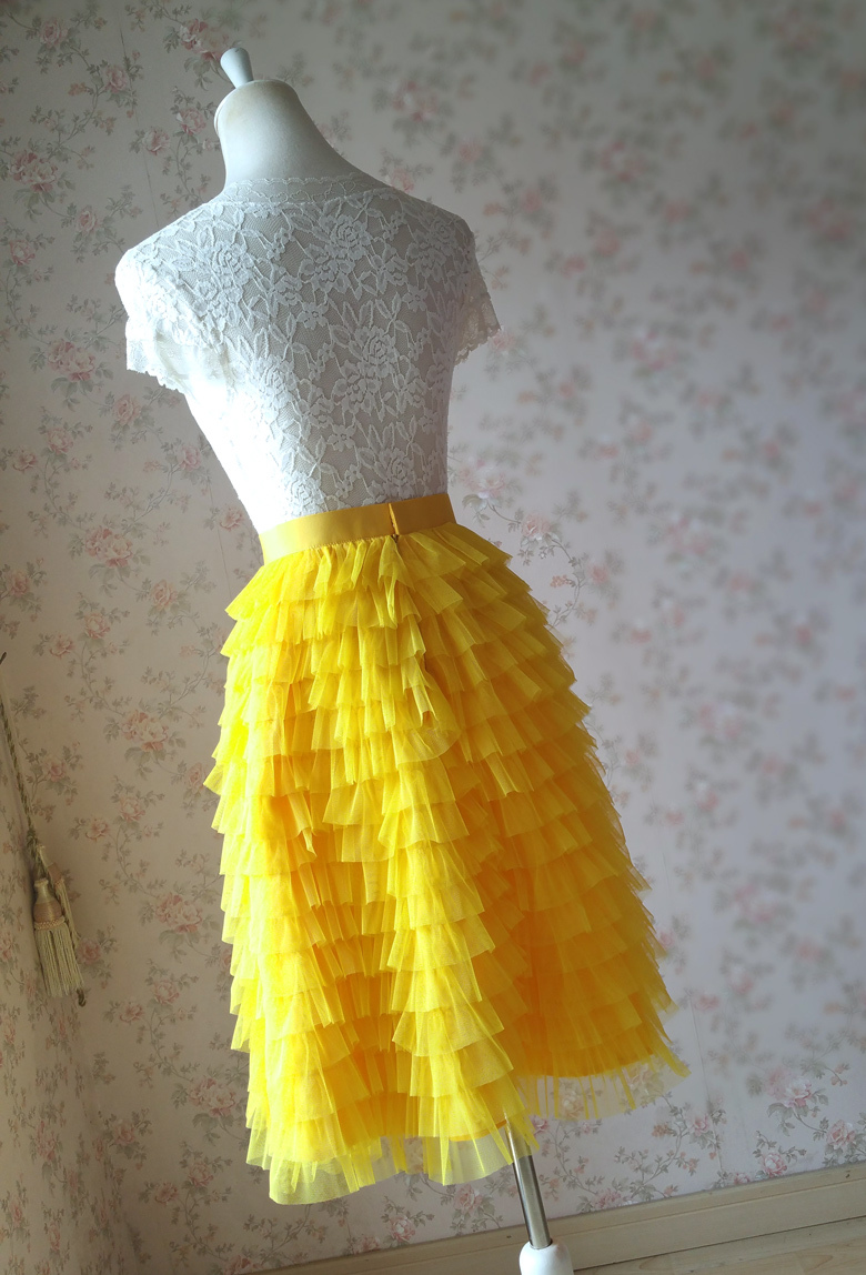 Tiered tulle skirt wedding party skirt yellow 6