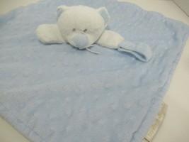 Blankets & Beyond white teddy bear blue minky dot security blanket pacif... - $9.89