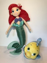 Disney Store Lot of 2 Plush Little Mermaid Ariel & Flounder The  Fish - $18.66