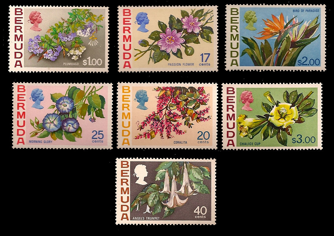 Bermuda Unfranked Stamp Set - Floral Designs- added Values 1