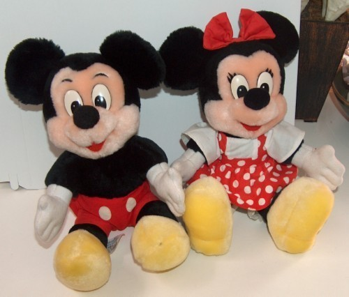 Mickey and minnie mouse plush dolls