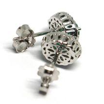 White Gold Earrings 750 18K, Flower, Emeralds 0.81 Ovals, Diamonds, Italy Made image 3