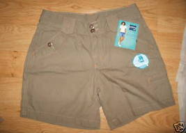 Ladies Lee RIDERS military Khaki Beige Metal Button Belt Loop Shorts Size 6  NEW - $8.99