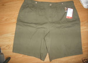 Ladies Faded Glory Bermuda uniform green Low Rise Pleated shorts Size 16 NEW