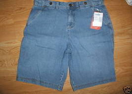 Ladies Faded Glory Bermuda Light blue jean SHORTS Cotton Metal Button Size 4 NEW - $8.99