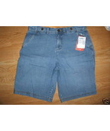Ladies Faded Glory Bermuda Light blue jean SHORTS Cotton Metal Button Si... - $8.99